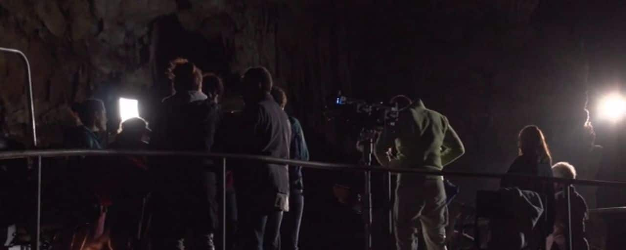 Filming in the Grotte